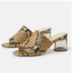 Zara Snake Print Sandals. Size 37/ U.S. 7.